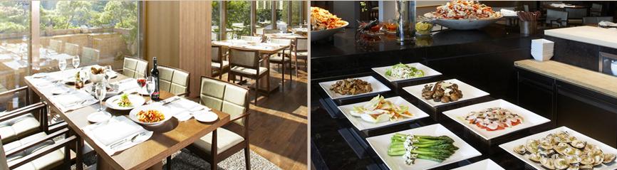 아침 햇살이 비추는 더 파크뷰의 테이블 위에 조식 뷔페를 접시에 덜어놓은 이미지와 뷔페 섹션에 해산물, 채소 등 다양한 메뉴가 세팅된 이미지