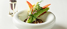 Spring Vegetables with Tomato Jelly, Oats, Barley and Cucumber, served with Blackcurrant Mayonnaise