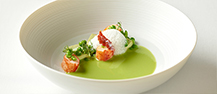 Pea Cream Soup with Peas Royale, Bacon Foam and Jamón Tuille